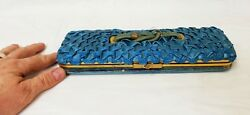 Antique Victorian Satin Covered Expanding Glove Box And Stretcher Holder
