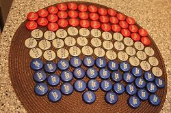 100 Red White Blue Beer Bottle Caps No Dents Flag Craft Free Fast Shipping