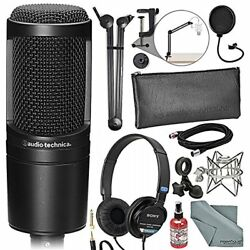 Audio-Technica AT2020 Cardioid Condenser Microphone Deluxe Broadcast Bundle With