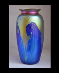 Blue Luster Vase With Gold Wave Design. Blown Glass