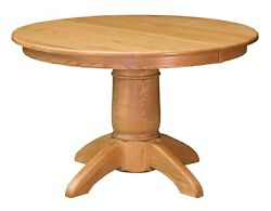 Amish Tuscan Round Pedestal Dining Table Solid Wood 42, 48, 54