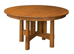 Amish Mission Craftsman Round Pedestal Dining Table Solid Wood 48, 54, 60, 72