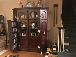 Wood Curio Cabinet With Media Storage And Collector's Display - 2 Piece Set