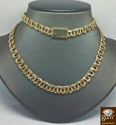 Real Solid 10k Yellow Gold Chino Chain Necklace Engraving Box Lock Rope Cuban