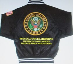7th Special Forces Groupeglin Afb-floridaarmy Embroidered 2-sided Satin Jacket