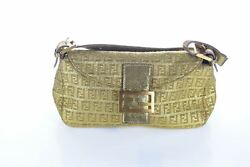 Fendi Gold Logo Cloth Shoulder Bag 5