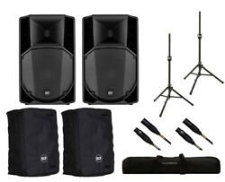 2x RCF ART 732-A MK4 Active Speaker + Covers + Stands + Bag + Mogami Cables