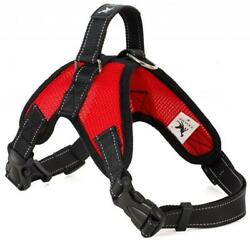 Dog Anti Pull Harness Halti Non Collar Padded Adjustable Strap Black Red