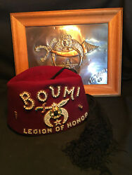 Collectible Boumi Temple Hat Cap Fez With Tassel Masonic Shriner With Plaque