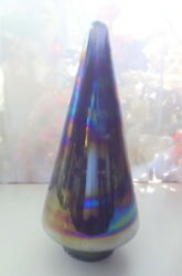 Christmas Tree Electric Blue Iridescent Carnival Glass Bohemian Mouth Blown 12