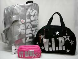 NWT VICTORIAS SECRET PINK 3PC ROLLING DUFFLE CARRY ON & COSMETIC BAG VIP .