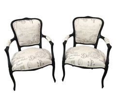 French Antique Louis Xv Style Arm Chairs - A Pair