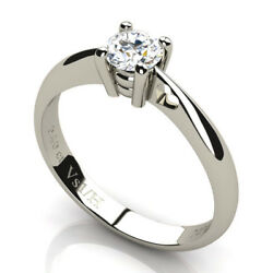 Vs1 / H 0.40 Ct Solitaire Diamond Wedding Ring In 18k 750 Solid White Gold New