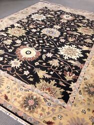 9and039 X 12and039 Rare Oushak Area Rug Black Wool Hand Made / Knotted New Woven A+ Wool