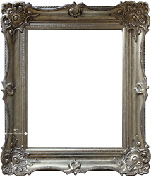 West Frames Victoria Ornate French Baroque Wood Picture Frame Antique Silver