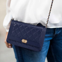 IT Bag! Chanel Lambskin Boy Wallet On Chain in Navy Gold