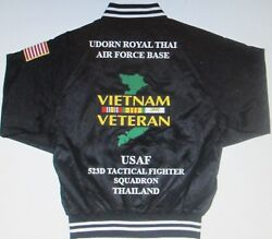 Vietnam Udorn Royal Thai Afb 523d Tactical Fighter 2-sided Satin Jackets