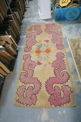 Primitive Antique American Hand Made Hooked Rug 2'8 X 5'10 Abstract