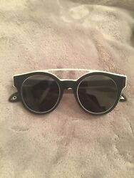 Designer Givenchy Stainless Steel & Rubber Round Logo Sunglasses Black and White