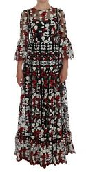 New 14600 Dolce And Gabbana Dress Black Daisy Roses Embroidered S. It38 / Us4 /s