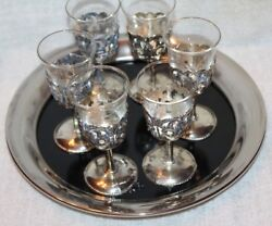 Vtg Easel 1779 Silverplate Tray W/ 6 Cordial Wine Aperitif Shot Glasses Goblets