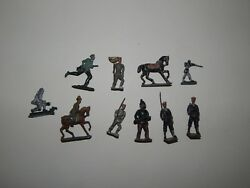Lot Of 10 Cast Iron Lead Tin Toy Soldiers R17869