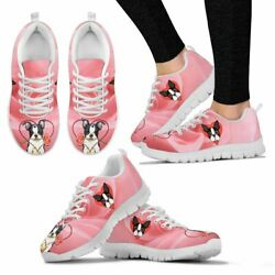 Valentine's Day Special Boston Terrier On Red Print Running Shoes For Women- Fre