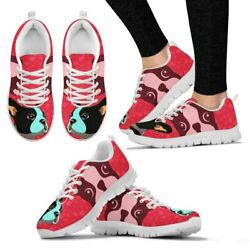 Valentine's Day Special-Boston Terrier Art On Red Print Running Shoes For Women-