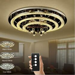 LED Remote Control Crystal Ceiling Light Pendant Lamp Chandeliers With LED Bulb*