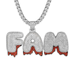 Sterling Silver Custom Design Dripping Bubble Letters Red Iced Out Hip Hop NEW