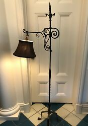 Lamp Wrought Iron Vintage Antique Floor Lamp With Brown Silk Lamp Shade