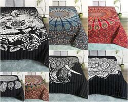 Indian Cotton Mandala Kantha Comforter Quilted Traditional Bed Throw Blanket