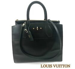 Louis Vuitton Black Noir City Steamer MM Handbag M53015