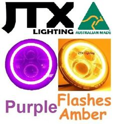 1pr Jtx Led Headlights Purple Flashes Amber Turning Land Rover Series 1 2 2a 3