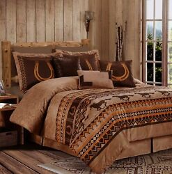 Western Diamond Ranch Horseshoes Faux Leather 7 Pcs Comforter Cal King Queen Set