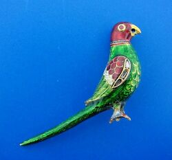 Rare Old Indian 14k Yellow Gold, Enamel, Diamond And Cabochon Ruby Bird