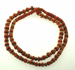 Gorgeous Victorian 10k Yellow Gold Coral Bead Strand Necklace