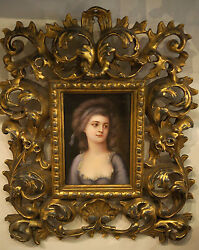 C.1900 European Porcelain Hand Painted On A Plaque Hand Carved Wooden Frame Rare