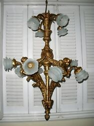 Antique Exquisite French Neo Classic Chandelier 12 Light Bronze Patina Sirens