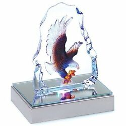 Gifts & Collectible Figurines Decor Bald Eagle Crystal Sculpture With LED Light
