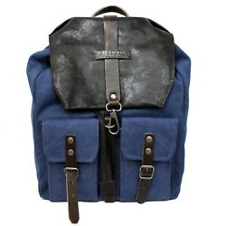 Man woman backpack THE BRIDGE brown leather blue canvas New 0617184D 8H EUPG