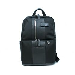 Man woman backpack PIQUADRO BRIEF black leather and fabric New CA3214BR N EUPG