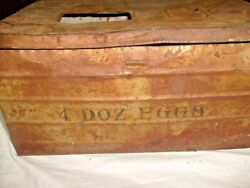 VINTAGE 4 DOZEN EGG CRATE  METAL CHICKEN CARTON BOX FARM PRIMITIVE TIN SIGN