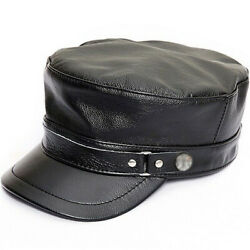 Mens Womens Black Fashion Genuine Leather Military Caps Casual Flat Top Hats New