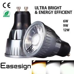 Easesign Ultra Bright Dimmable 6W 9W 12W MR16 GU10 COB LED Spotlight Light Bulb
