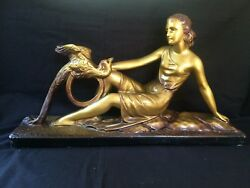 Fabulous Antique Chalkware Art Deco Statue Lady With Bird. Signed