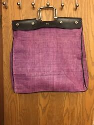 Authentic BURBERRY LONDON Wicker Straw Purple Large Beach Bag Purse Tote Leather