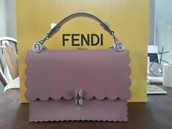 Fendi Kan I Bag Leather Silver Tone Chain Link Dusty Rose - Sold Out Color