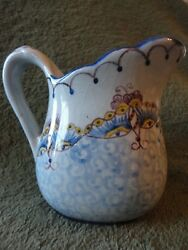 Portugal Cream Pitcher CF B Many Markings on the Bottom Butterfly Illusion  VTG
