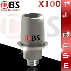 100x Dental Implant Ti-base With Hex + Screws Cad/cam Compatible Hexagon 2.42